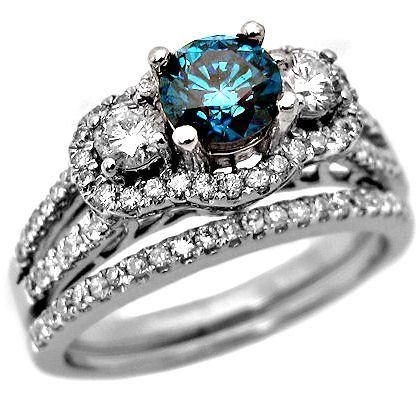 awesome 205ct blue spherical diamond engagement ring wedding established 14k white gold - Blue Diamond Wedding Ring Sets
