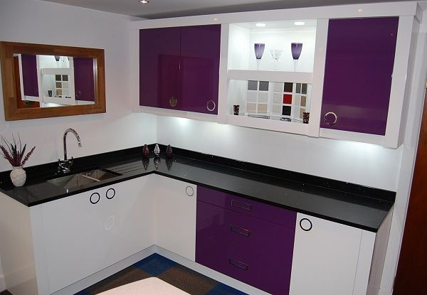 Purple Kitchen Bespoke And White High Gloss