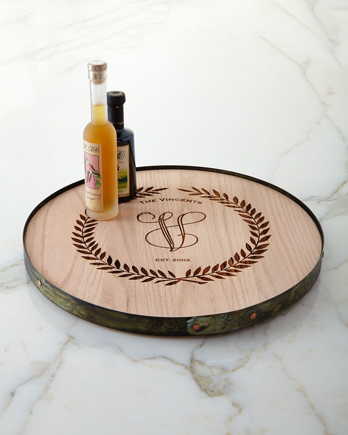 Wine Barrel Lazy Susan Personalized Serveware Serving Trays