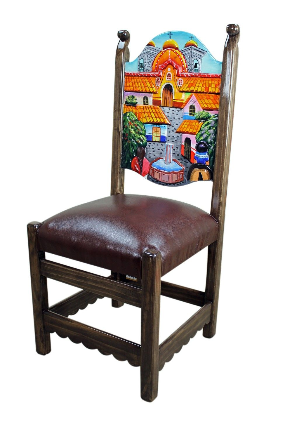 Rustic Mexican Pueblito Painted Chair Handpaintedfurniture Hand Chairs Funky Furniture Upcycled