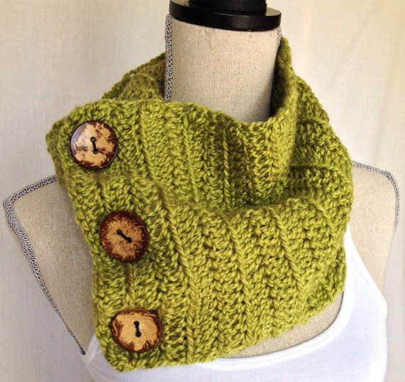 Crochet Cowl Neck Warmer Scarf - Lemon Grass Short Ribbed Yarn with Coconut Buttons on Etsy, $45.00 CAD