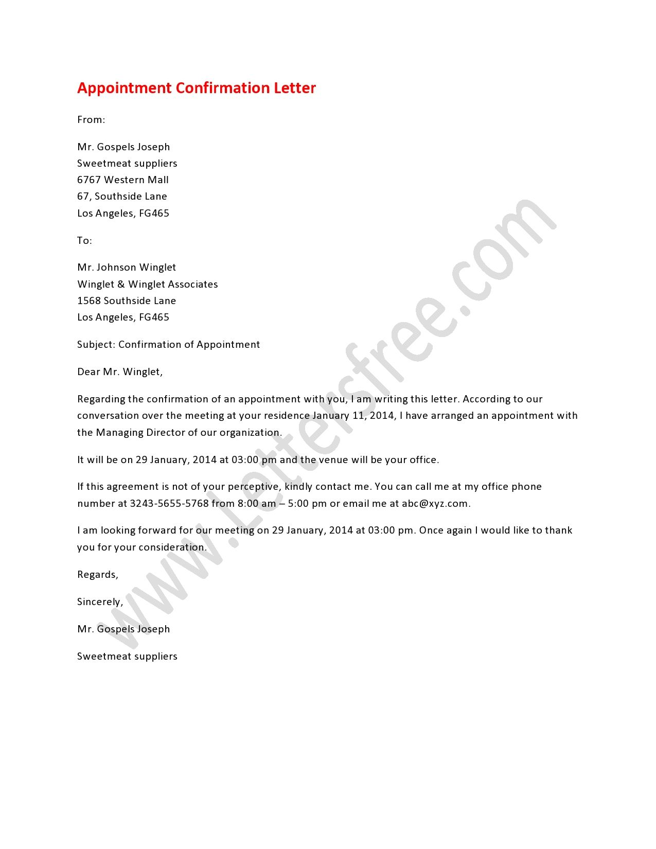 Appointment Confirmation Letter - Free Letters  Confirmation
