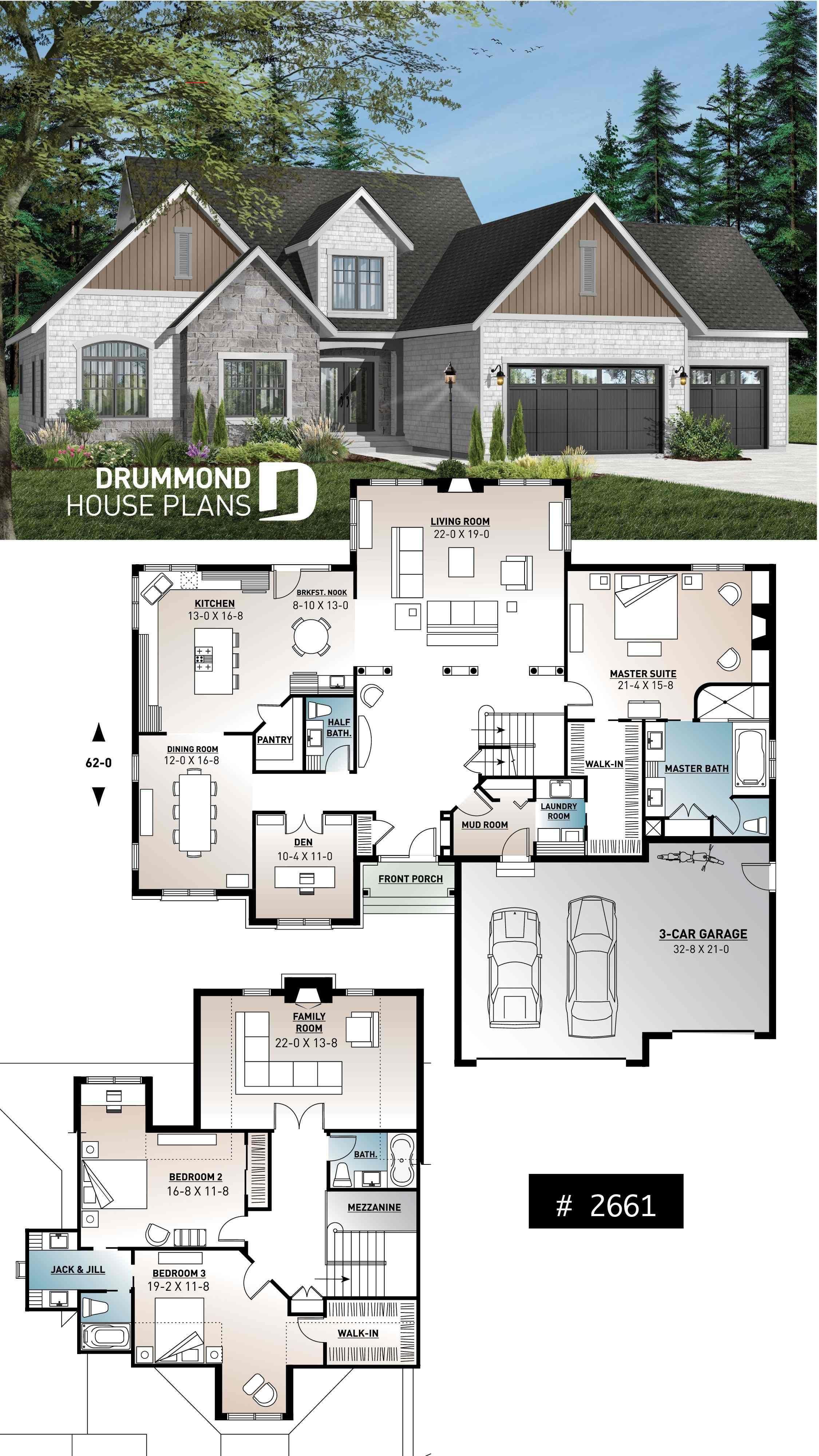 3 To 5 Bedroom American House Plan Master Bedroom On Main Floor Large Kitchen Traditionalkitchen Plantas De Casas Casas Americanas Casas