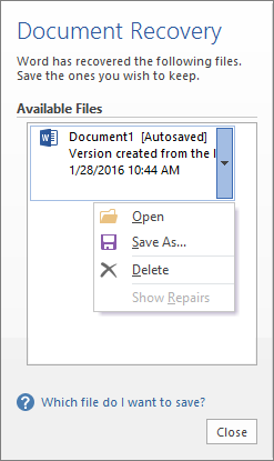 Document Recovery Pane Office Files Microsoft Office Filing