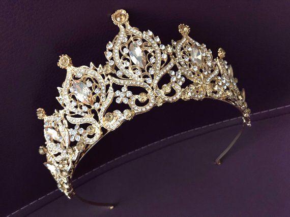 Gold crystal wedding tiara, crown tiara, bridal tiara, crystal wedding tiara, crystal crown tiara, bridal crown, bridal crystal crown