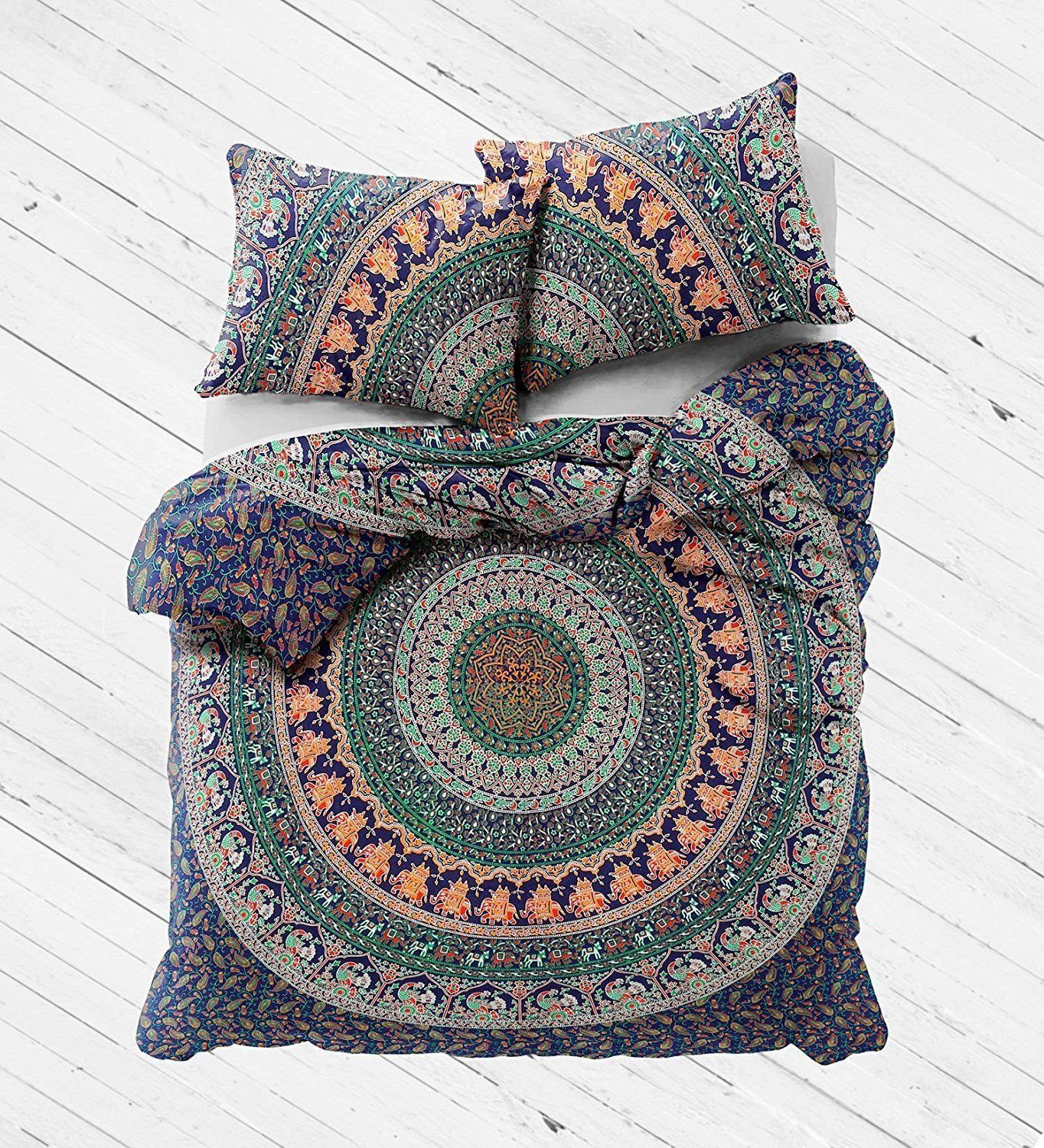 Duvet Fits a Full Size Comforter and looks great on a twin size or full size bed. MADE IN INDIA:-Beautifully Hand Crafted By Local Artists A wonderful example