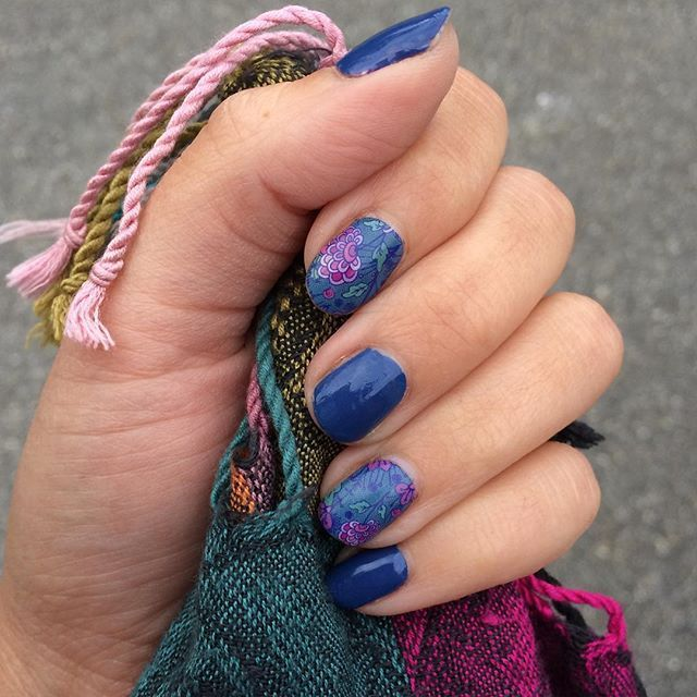 blue manicure jamberry 39 s koi pond wrap with blue suede