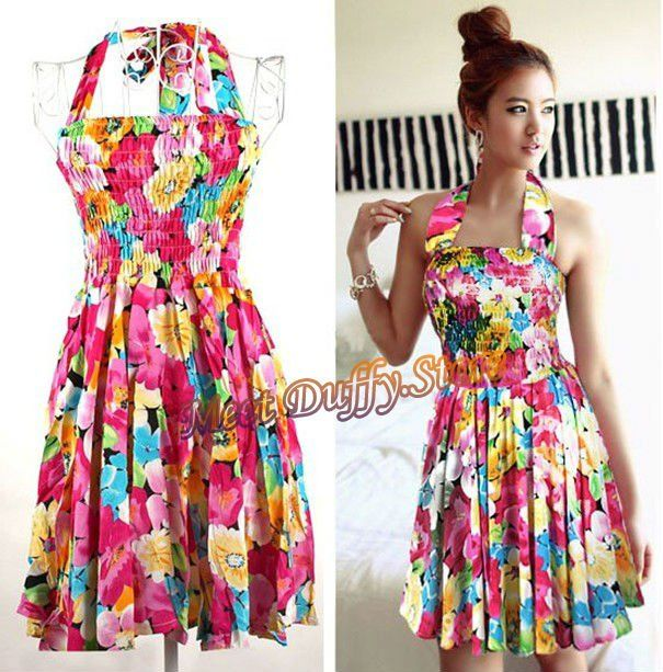 Flower Dresses For Women Bohemian A Line Halter Backless Dress Lady