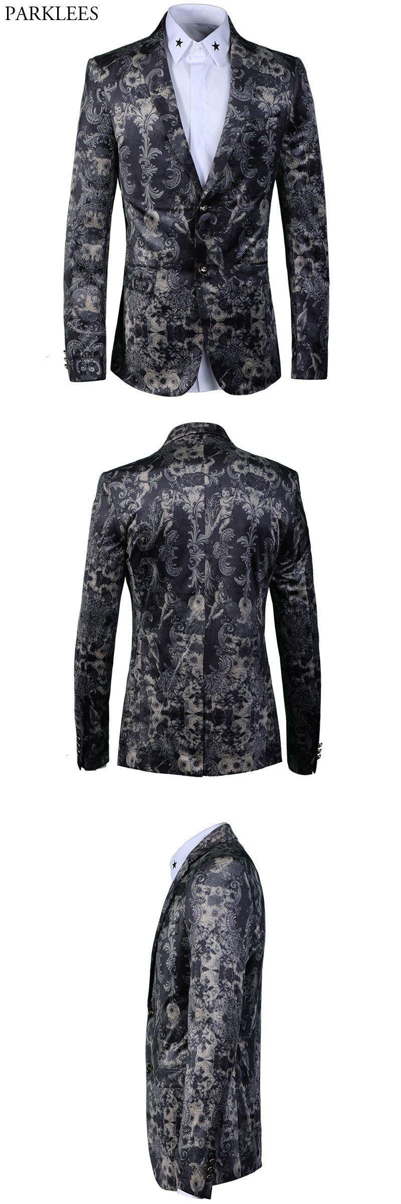 Stylish paisley floral blazer men luxury brand vintage mens