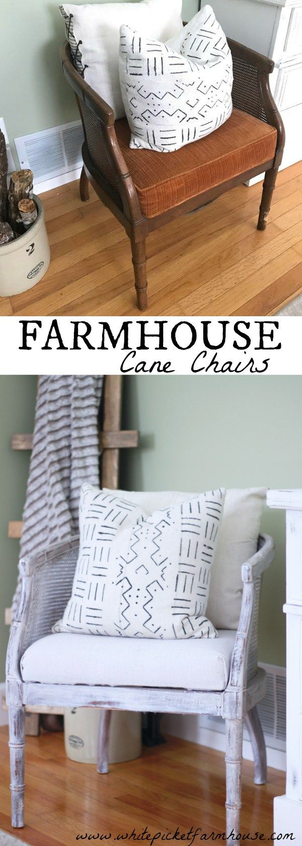 DIY Cane Chairs, How to Reupholster and refinish them easily, Farmhouse Cane Chairs On…