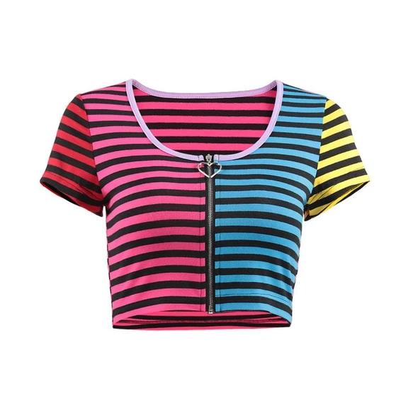 InstaHot Summer Striped T Shirt Women Zipper Sexy Multi Color Crop Top Short Sleeve O Neck Colorful Casual Girls Streetwear 2018