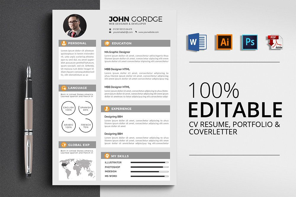 cv resume  easily customization editable mm
