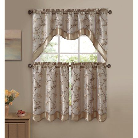 Vcny Audrey 3 Piece Kitchen Curtain Tier Swag Set Gold Walmart Com In 2020 Kitchen Curtains And Valances