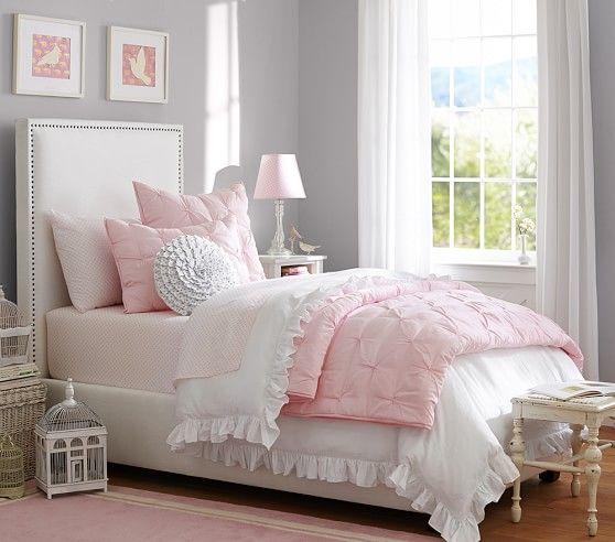 Decorating Girls Room Pink White Stripe Quilt