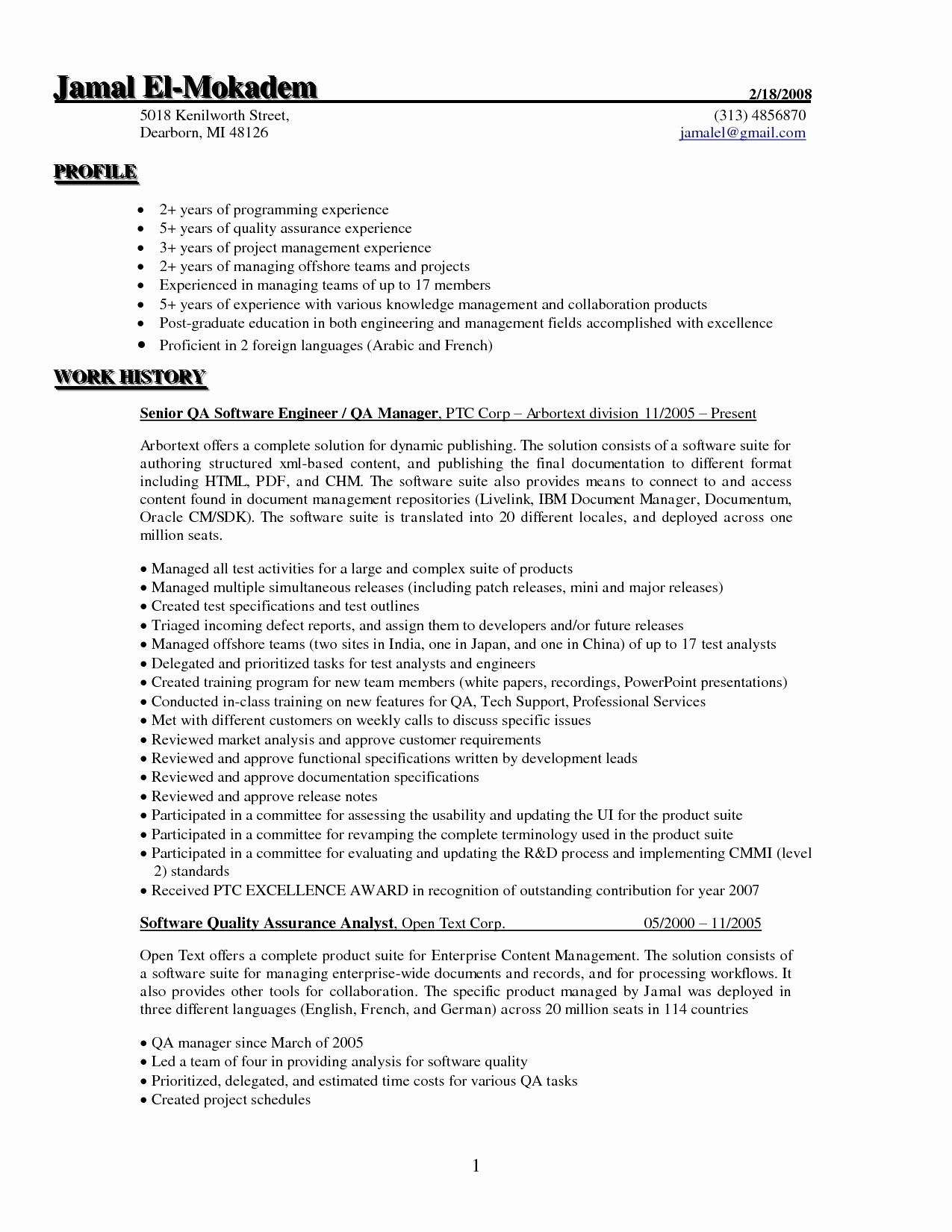 Resume Format For 5 Years Experience In Testing Resume Format