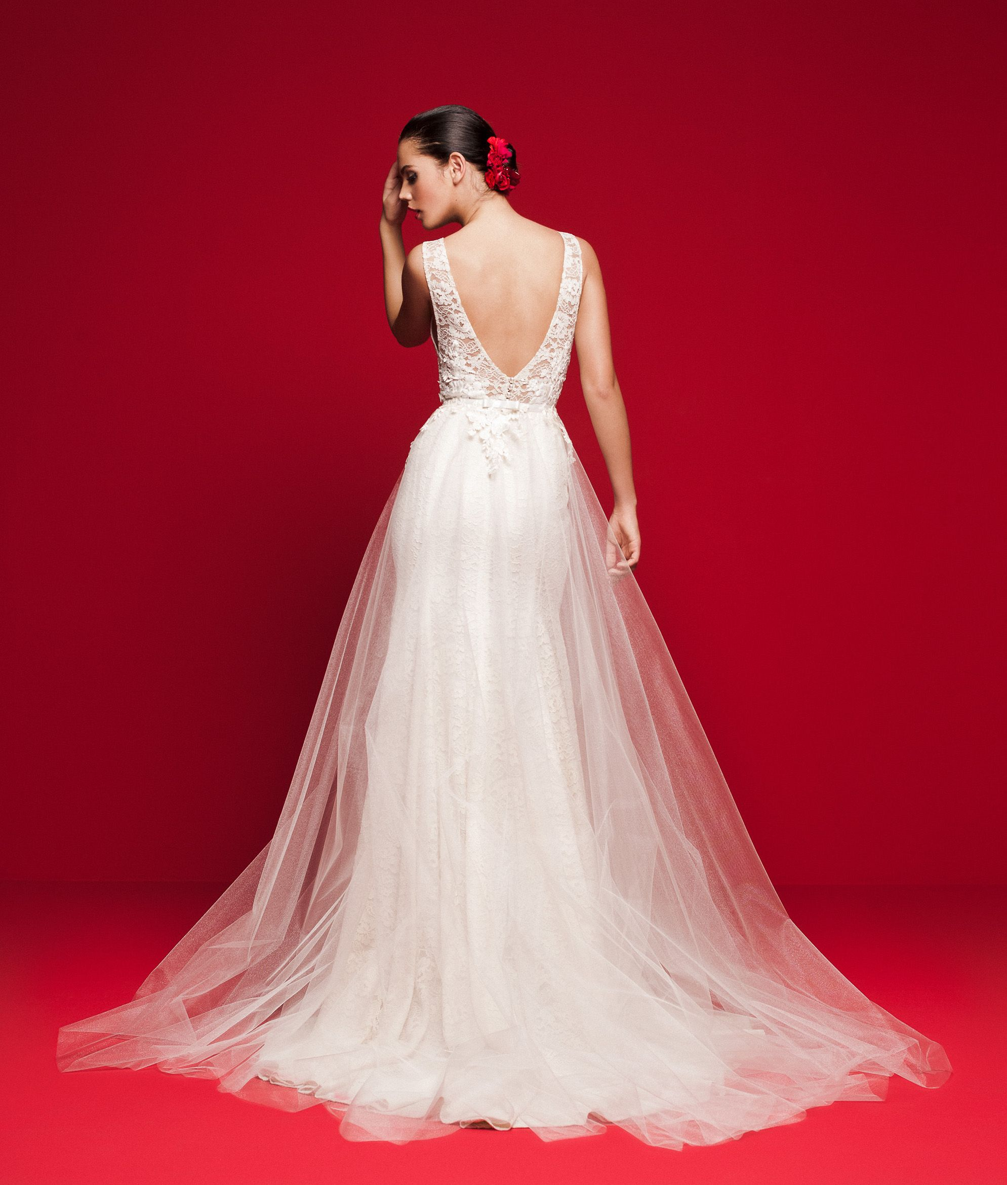 Over Skirt Wedding Dresses Lace And Tulle Sheer Neckline