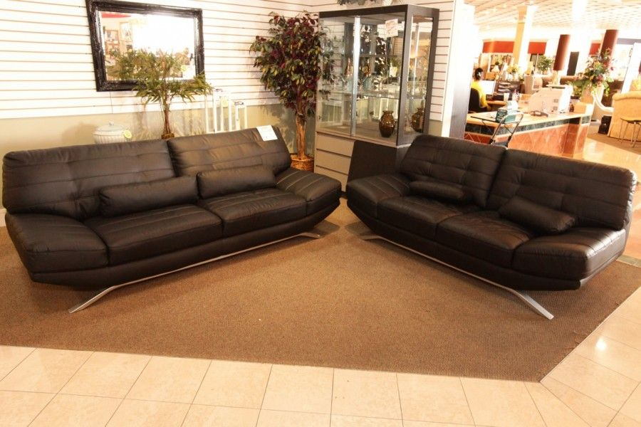 Modern Black Leather Sofa Amp Love Seat Colleen S Classic