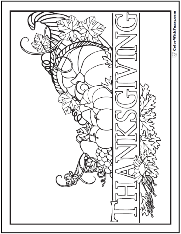 Thanksgiving Cornucopia Coloring Page With Details And The Word Printed Like A Banner Happy