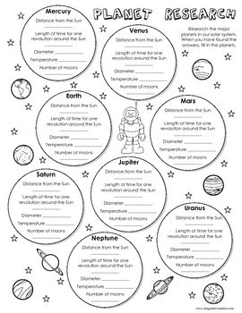 free planet research worksheet school science classroom earth space science science lessons. Black Bedroom Furniture Sets. Home Design Ideas