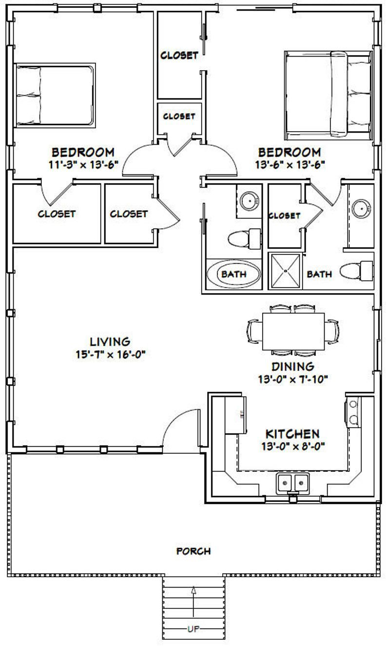 30x40 House 2 Bedroom 2 Bath 1 136 Sq Ft Pdf