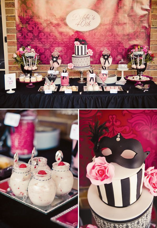 Chic masquerade themed 40th birthday party masquerades for 40 birthday decoration ideas