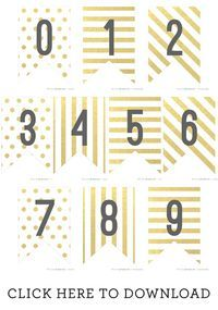 502bcce45a6f1 Free Printable Gold Foil Banner Numbers | *DIY* | Gold banner, Free ...