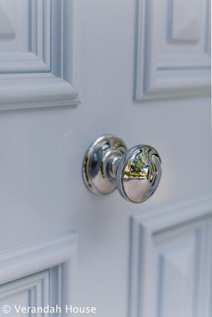 blue front door, polished silver door knob | Katherine exterior ...