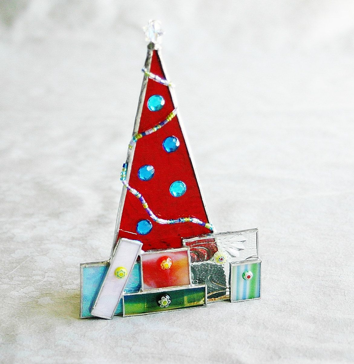 Diy Stained Glass Ornament Kit Christmas Tree W Presents