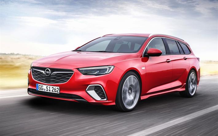Lataa kuva Opel Insignia, 2017, GSi Sports Tourer, vaunu, punainen Arvomerkit, saksan autoja, uusia autoja, Opel