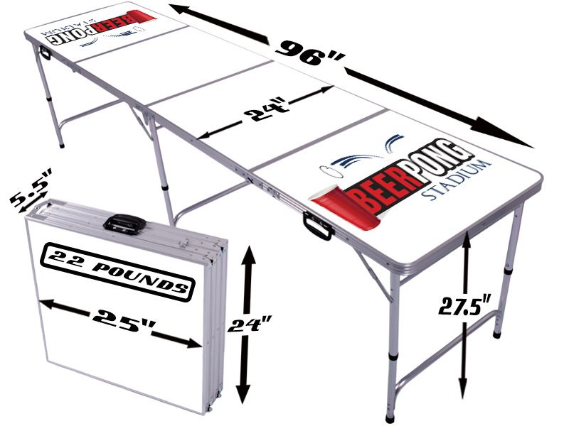 official beer pong table dimensions 8ft x 2ft, 27.5 inches high