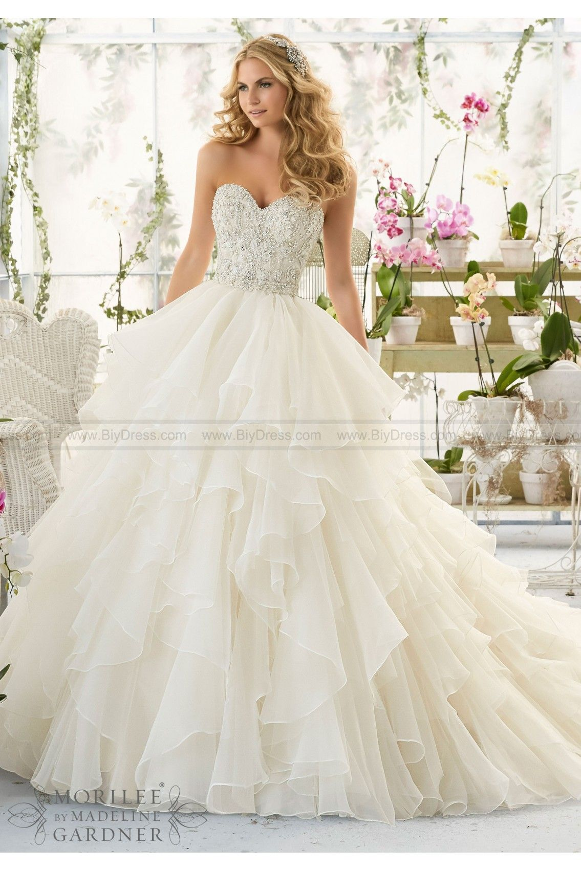 View Dress Mori Lee Bridal Spring 2016 Collection 2815 Intricate Crystal Beaded And Embroidered Bodice Onto A Flounced Organza Skirt