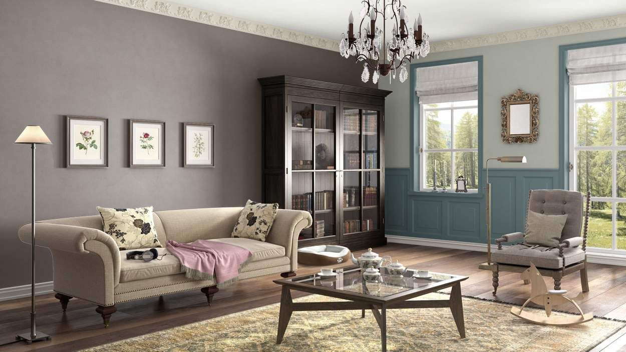 living space I created this English Romantic living room using Design By What Matters by Benjamin Moore. What's your design personality? #BenjaminMoore #DBWM