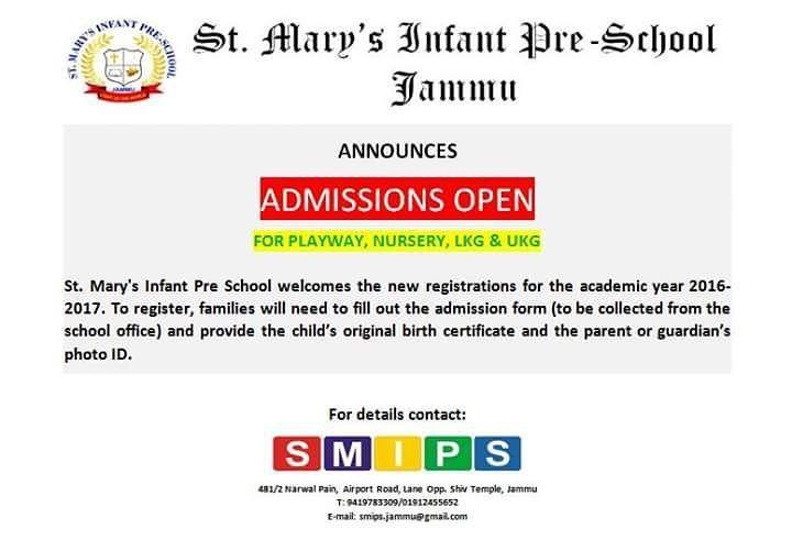 Admissions open for playway nursery LKG and UKG at St Maryu0027s - admission form school