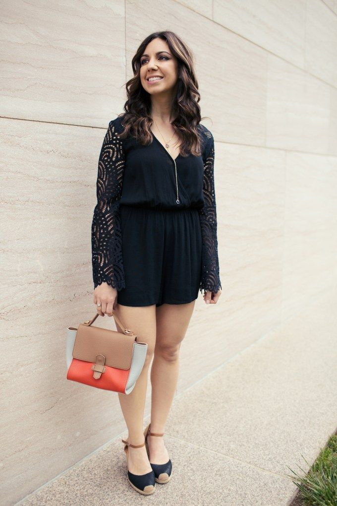 4ab37076401 Lifestyle blogger Roxanne of Glass of Glam wearing a Sugarlips Romper and  Zaful bag