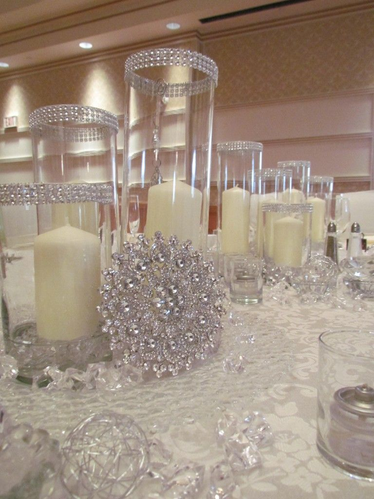 rhinestone wedding decorations bling table linens pillar candles with rhinestones and 7087