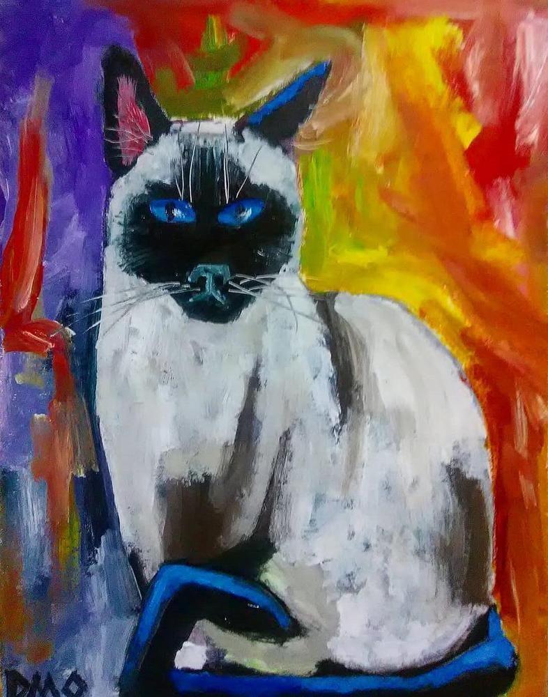 Siamese Cat Kitten Original Oil Painting Realism Abstract Art D