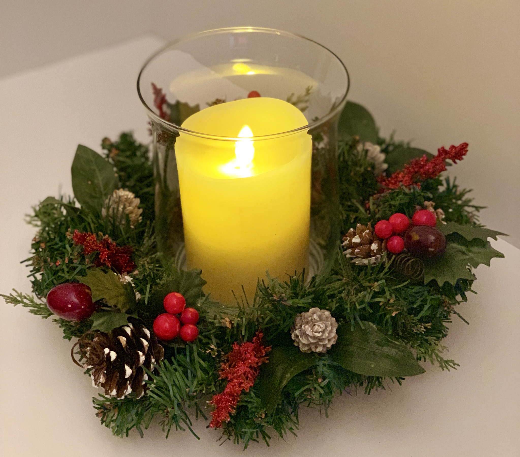 Christmas Evergreen Hurricane Centerpiece Candle Holder A Touch Of Faith Holiday Centerpieces Christmas Centerpieces Christmas Centers