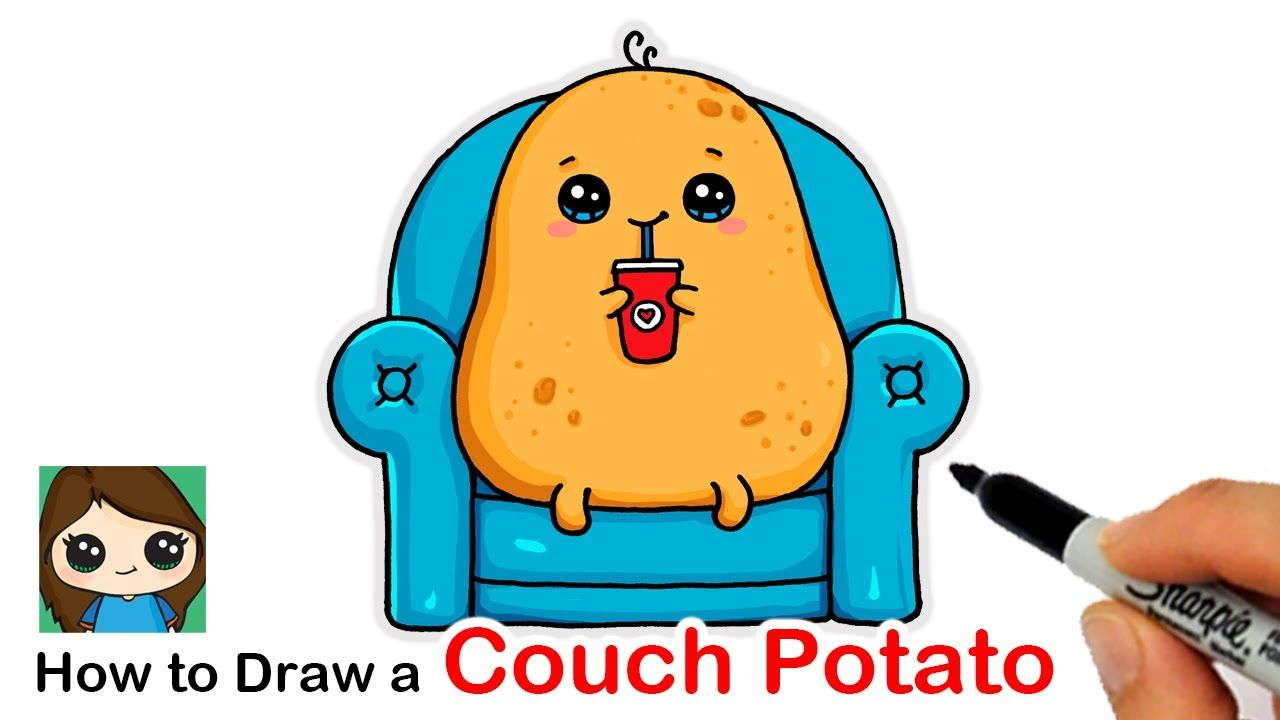 how to draw a couch potato youtube in 2020 potato drawing couch potato cartoon potato how to draw a couch potato youtube in