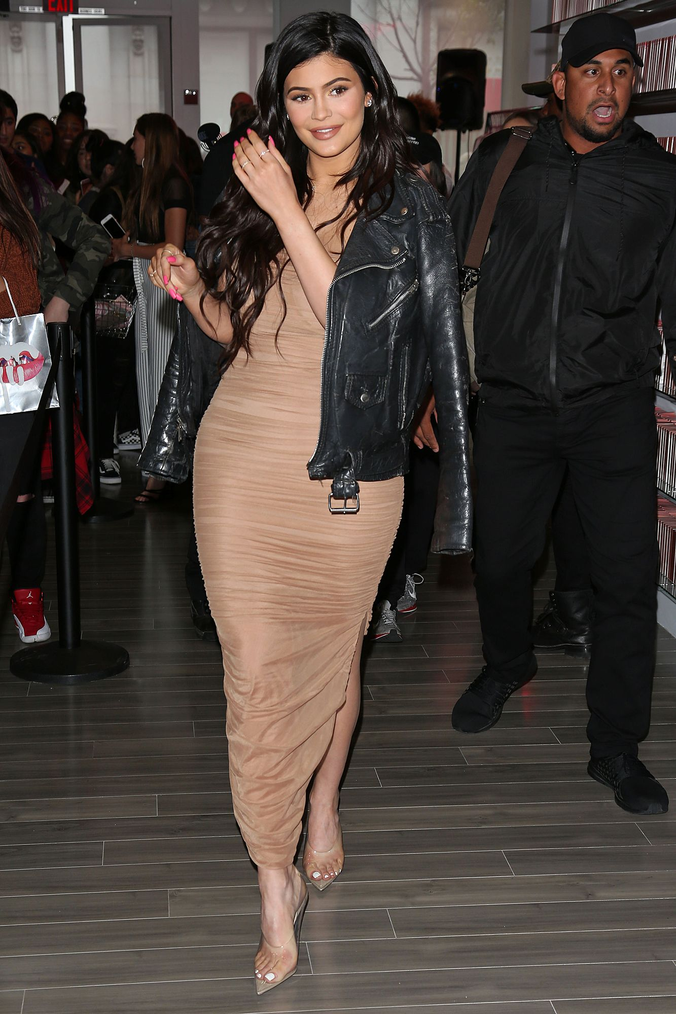 Kylie Jenner Wears Curve-Hugging Dress to Her San