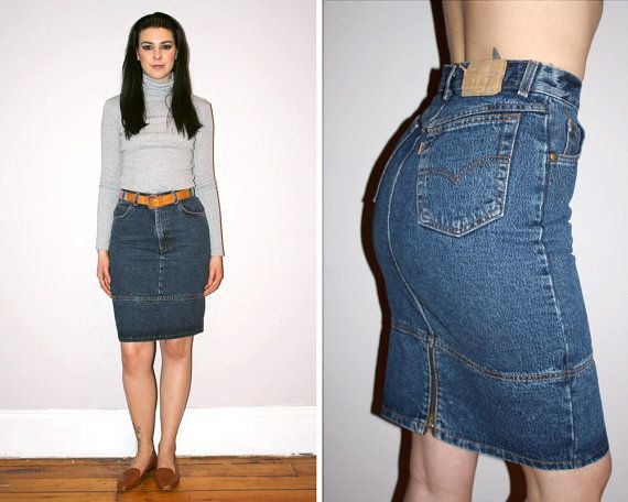 Vintage 80s LEVI'S High Waisted Denim Skirt / Medium Wash / Sexy ...