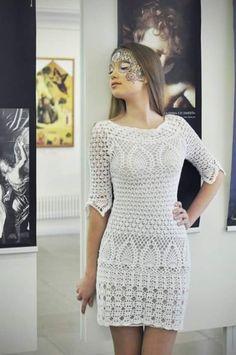 fcb87c3ae VESTIDOS COM MEIA MANGA … | crochet dress | Vesti…