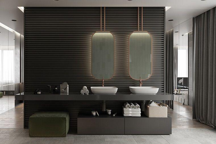 Come arredare casa sala da bagno con mobili moderni di colore nero