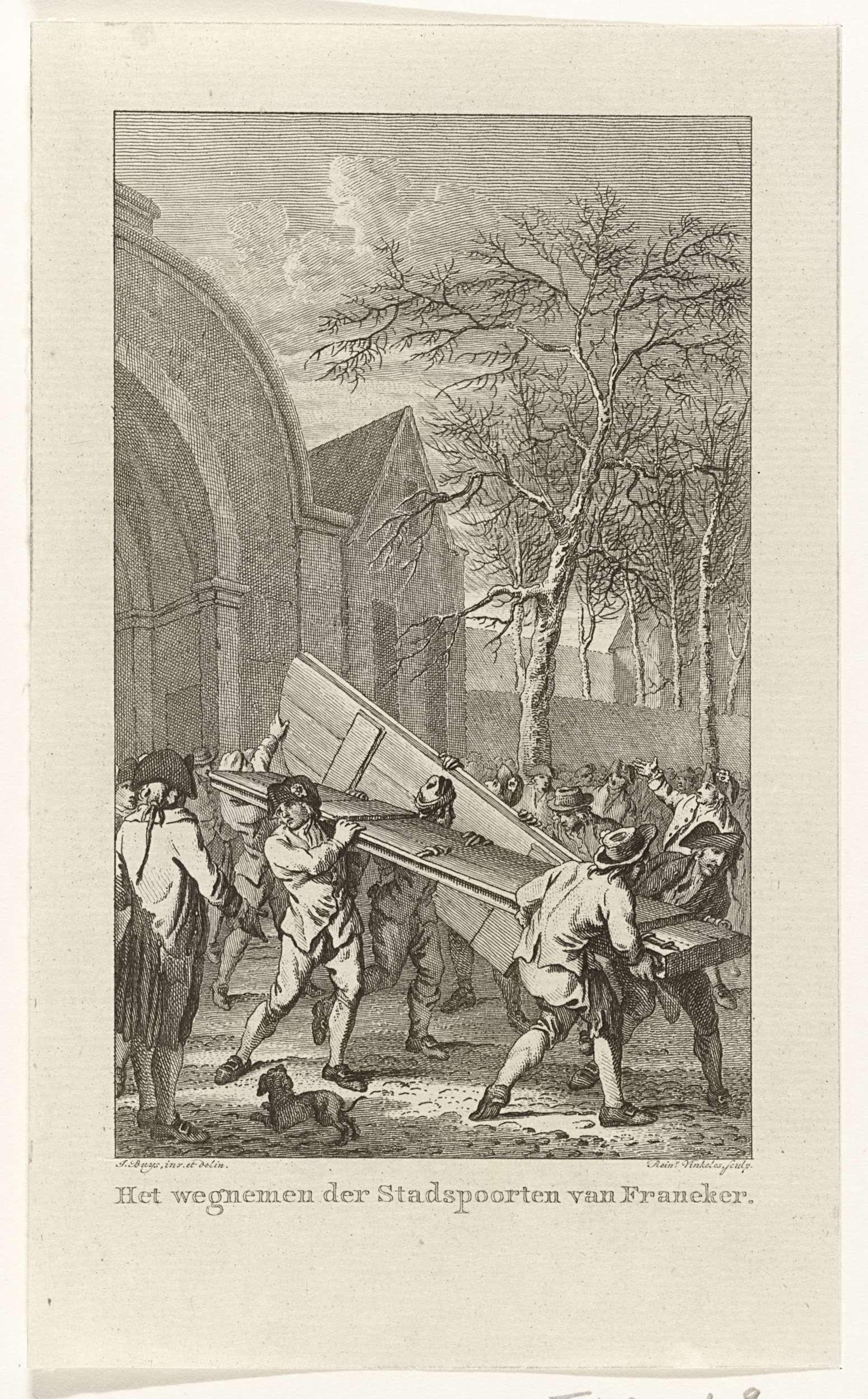 Reinier Vinkeles | Wegnemen van de deuren van de stadspoort te Franeker, 1788, Reinier Vinkeles, 1795 - 1797 | Het wegnemen van de deuren van de stadspoort van Franeker, februari 1788.