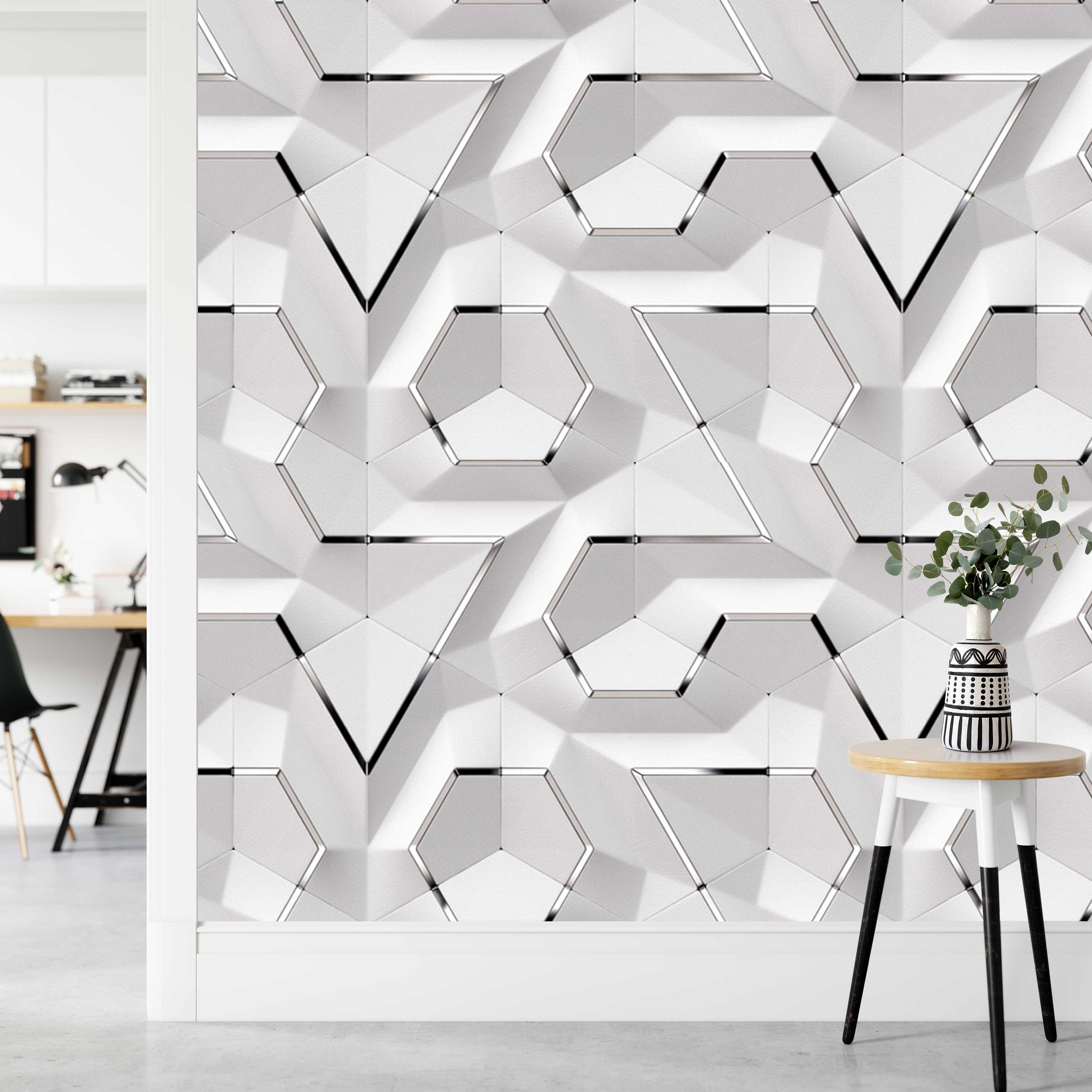 Panel Decor Geometric Background Wallpaper Self Adhesive Peel Etsy In 2020 Wall Paint Designs Silver Decor Design Living Room Wallpaper
