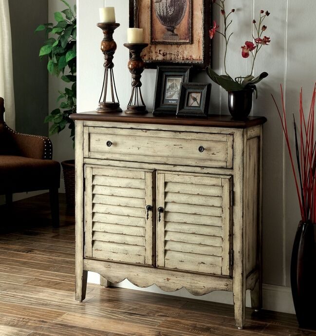 Hazen Collection Vintage Style Antique White And Brown Finish Wood Single  Drawer And Cabinet Hall Console