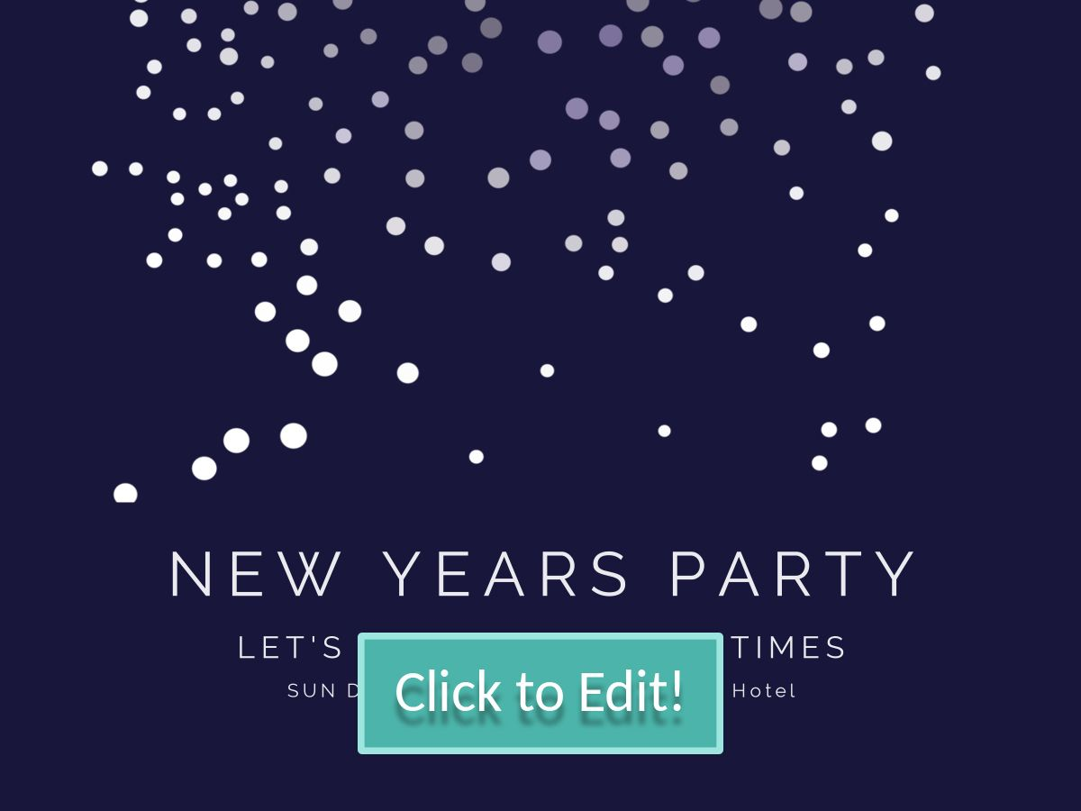 Bubble patterns on a customizable New Year party invitation for a ...