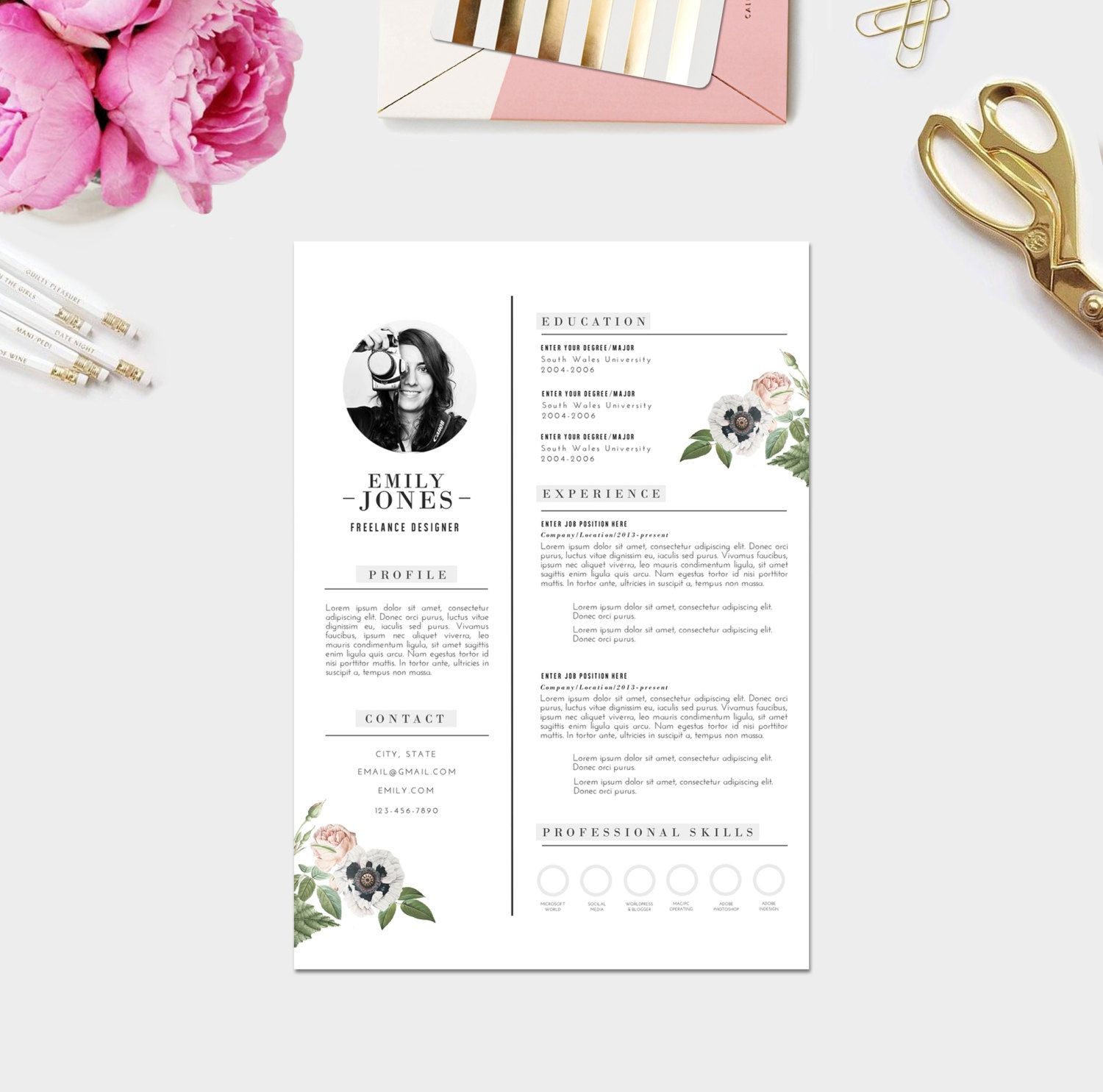 Beautiful Resume Layouts Instant Digital Download Word Format Psd By