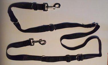 MULTI-LAISSE FIDÈLE - 8 fonctions - Laisse de 4 à 6 pieds, à mettre autour de la taille ou en bandoulière, 2 attaches pouvant guider 2 chiens, multi-attaches, pouvant être sécurisée sur un poteau, pouvant aussi faire un collier, 3 positions de poignée. Une laisse dont personne ne peut se passer. Noir seulement.