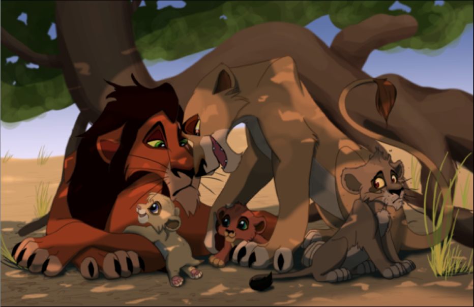 Scar's family------Scar, Zira, Nuka, Vitani and Kovu | Love Lion