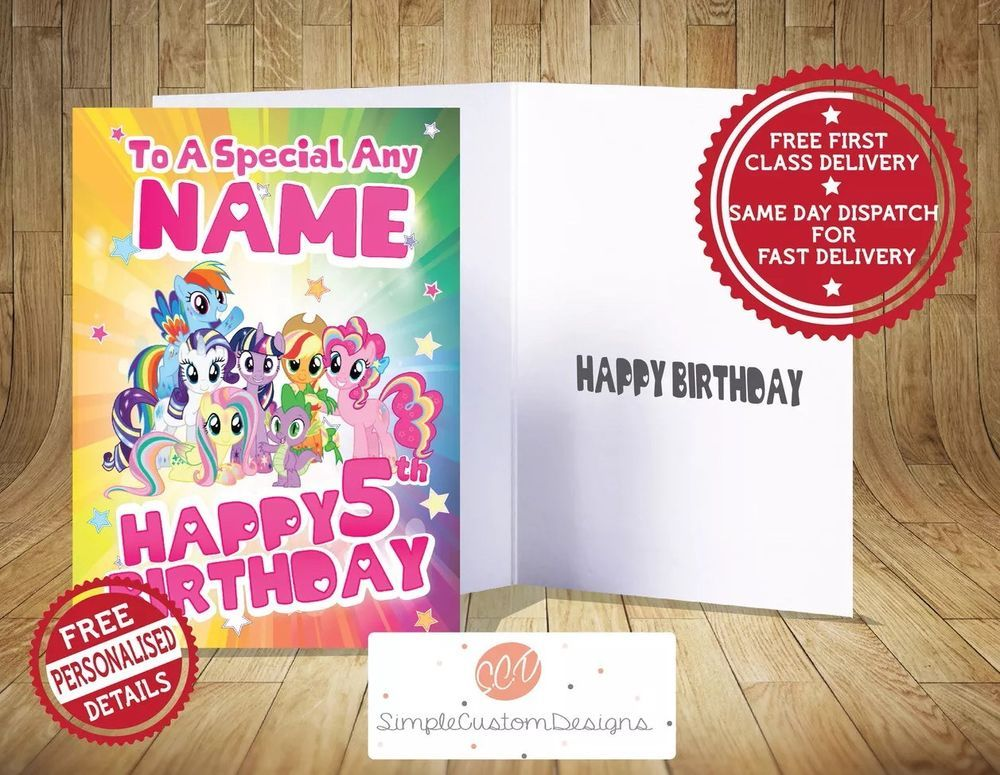 Details about My Little Pony Rainbow Personalised Birthday – Free Delivery Birthday Cards